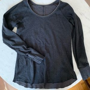 Lululemon Reversible Grey/Stripe Pullover Size 6